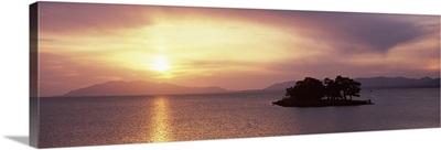 Sunset over a lake, Yomegashima Island, Lake Shinji, Matsue, Shimane Prefecture, Chugoku Region, Honshu, Japan