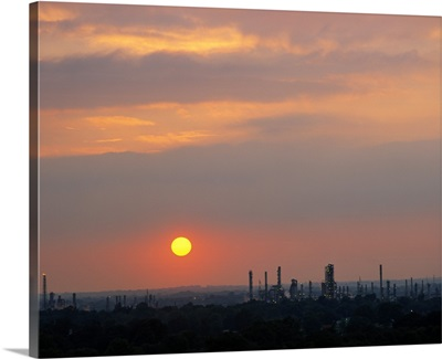 Sunset over a refinery, Philadelphia, Pennsylvania