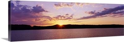 Sunset over a reservoir, Hinckley Reservoir, Adirondack Mountains, New York State