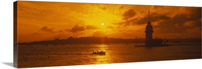 Sunset over a river, Bosphorus, Istanbul, Turkey