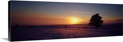Sunset over a snow covered landscape, Lewis and Clark County, Montana