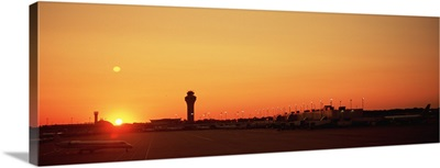 Sunset over an airport, O'Hare International Airport, Chicago, Illinois