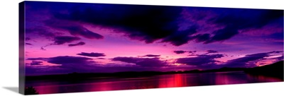 Sunset over an island viewed from Applecross Peninsula Isle of Skye Inner Hebrides Hebrides Scotland