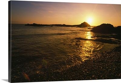 Sunset over beach, Pacific Coast, Oregon, united states,