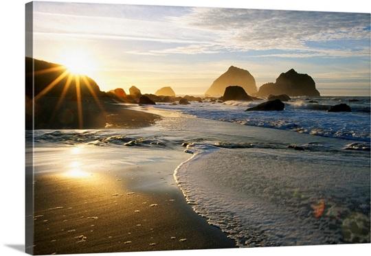 Sunset Over Beach Scene Wall Art, Canvas Prints, Framed