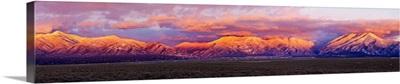 Sunset over mountain range, Sangre De Cristo Mountains, Taos, Taos County, New Mexico