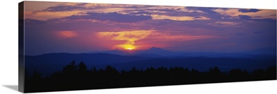 Sunset over mountains, Tower Road, Williamstown, Vermont
