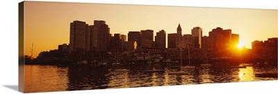 Sunset over skyscrapers, Boston, Massachusetts