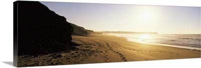 Sunset over the beach, Lagos, Faro District, Algarve, Portugal
