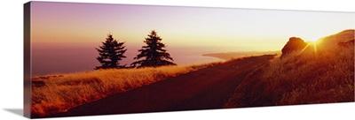 Sunset over the mountain, Mt Tamalpais, Marin County, California