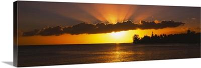 Sunset over the ocean, Tahiti, French Polynesia