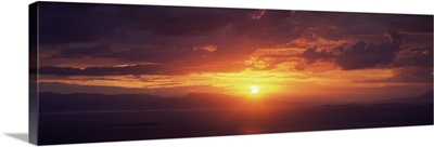 Sunset over the sea, Aegina, Saronic Gulf Islands, Attica, Greece