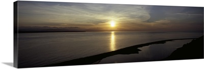 Sunset over the sea, Ebey's Landing National Historical Reserve, Whidbey Island, Island County, Washington State