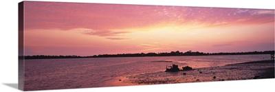 Sunset over the sea, Gulf of Mexico, Cedar Key, Florida