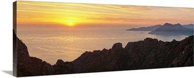 Sunset over the sea, Les Calanche De Piana, Gulf Of Porto, Corsica, France