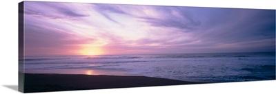 Sunset over the sea, North Beach, Point Reyes National Seashore, California