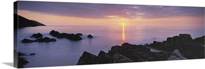 Sunset over the sea, Putsborough, Woolacombe, North Devon, Devon, England