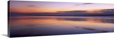 Sunset over the sea, Sandymouth bay, Bude, Cornwall, England