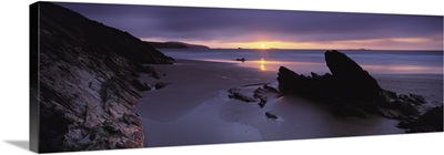 Sunset over the sea Whitesand Bay Pembrokeshire Wales