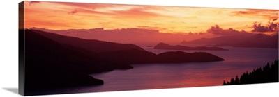 Sunset Queen Charlotte Sound New Zealand