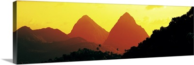 Sunset Twin Pitons St Lucia West Indies