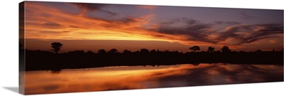 Sunset Water Hole Botswana Africa