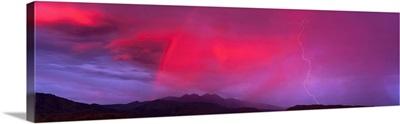 Sunset With Lightning And Rainbow Four Peaks Mountain AZ