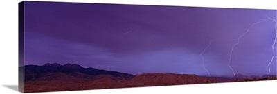 Sunset w/Lightning Four Peaks Mountain AZ