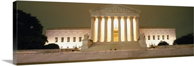 Supreme Court Building illuminated at night, Washington DC