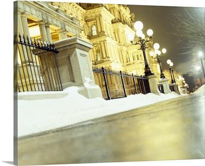 Surface view of a snow shoveled sidewalk, Washington DC