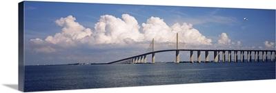 Suspension bridge across the bay, Sunshine Skyway Bridge, Tampa Bay, Gulf of Mexico, Florida,