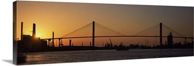 Suspension bridge across the river, Talmadge Bridge, Savannah River, Savannah, Chatham County, Georgia,