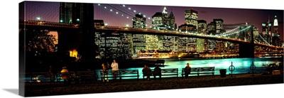 Suspension bridge lit up at dusk, Brooklyn Bridge, East River, Manhattan, New York City, New York State