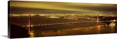 Suspension bridge lit up at dusk, Golden Gate Bridge, San Francisco, California,