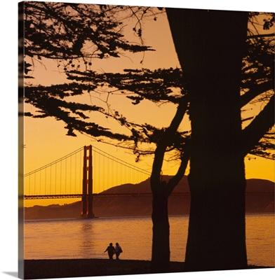 Suspension bridge over water, Golden Gate Bridge, San Francisco, California
