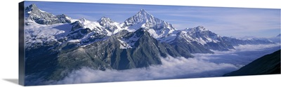 Switzerland, Swiss Alps, Aerial view of clouds over mountains