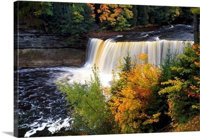 Tahquamenon Falls, autumn color forest, Michigan