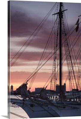 Tall ship moored at a harbor, Sail Boston Tall Ships Festival, Boston, Massachusetts