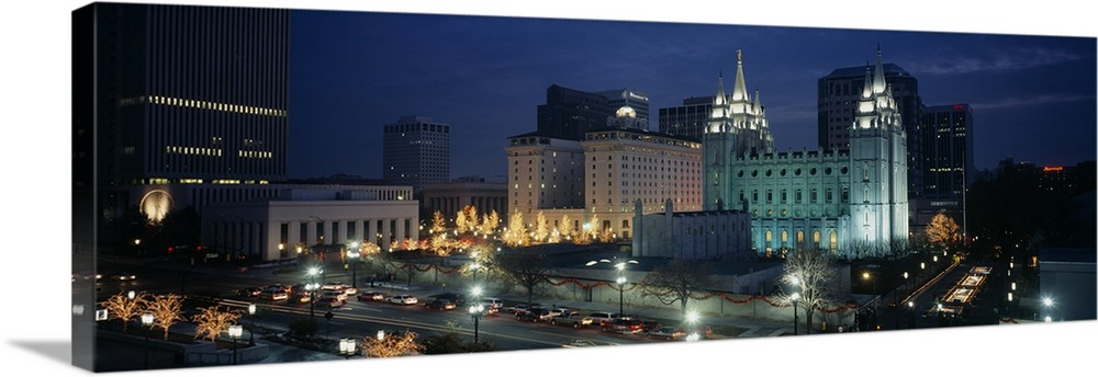 Temple Lit Up At Night Mormon Temple Salt Lake City Utah Wall Art Canvas Prints Framed Prints Wall Peels Great Big Canvas
