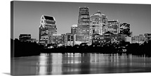 Texas, Austin, Panoramic view of a city skyline (Black And White)