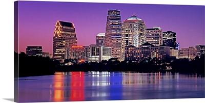 Texas, Austin, View of an urban skyline at night