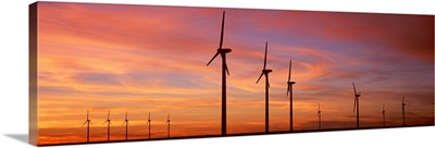 Texas, Brazos, Wind turbine in the barren landscape