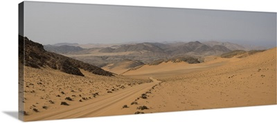 Tire track through desert, Hartmann Valley, Kunene, Namibia