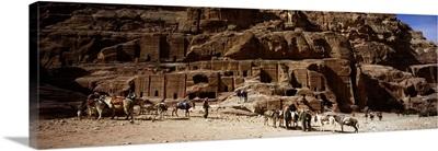 Tourist at ancient structures, Petra, Jordan