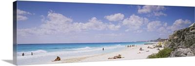 Tourist on the beach, Cancun, Mexico