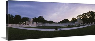 Tourists at a war memorial, National World War II Memorial, Washington DC