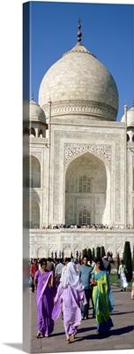 Tourists in front of a building, Taj Mahal, Agra, Uttar Pradesh, India