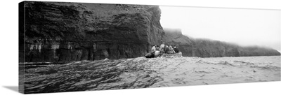 Tourists on a boat, Cliffs Of Moher, The Burren, County Clare, Republic Of Ireland