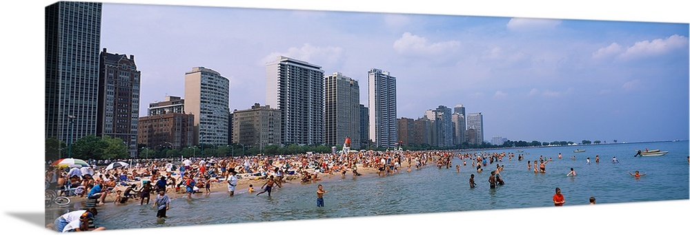 Tourists Swimming In A Lake, Lake Michigan, Chicago, Cook County, Illinois,