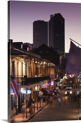 Tourists walking in the street, Bourbon Street, French Quarter, New Orleans, Louisiana